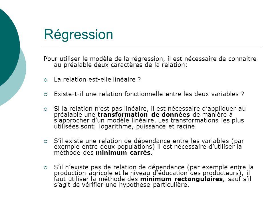Régression Pour utiliser le modèle de la régression, il est nécessaire de connaitre au préalable deux caractères de la relation: La relation est-elle linéaire .
