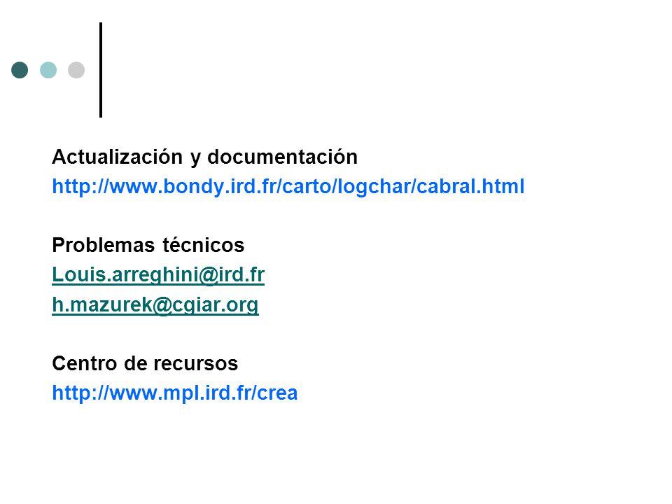 Actualización y documentación http://www.bondy.ird.fr/carto/logchar/cabral.html Problemas técnicos Louis.arreghini@ird.fr h.mazurek@cgiar.org Centro de recursos http://www.mpl.ird.fr/crea