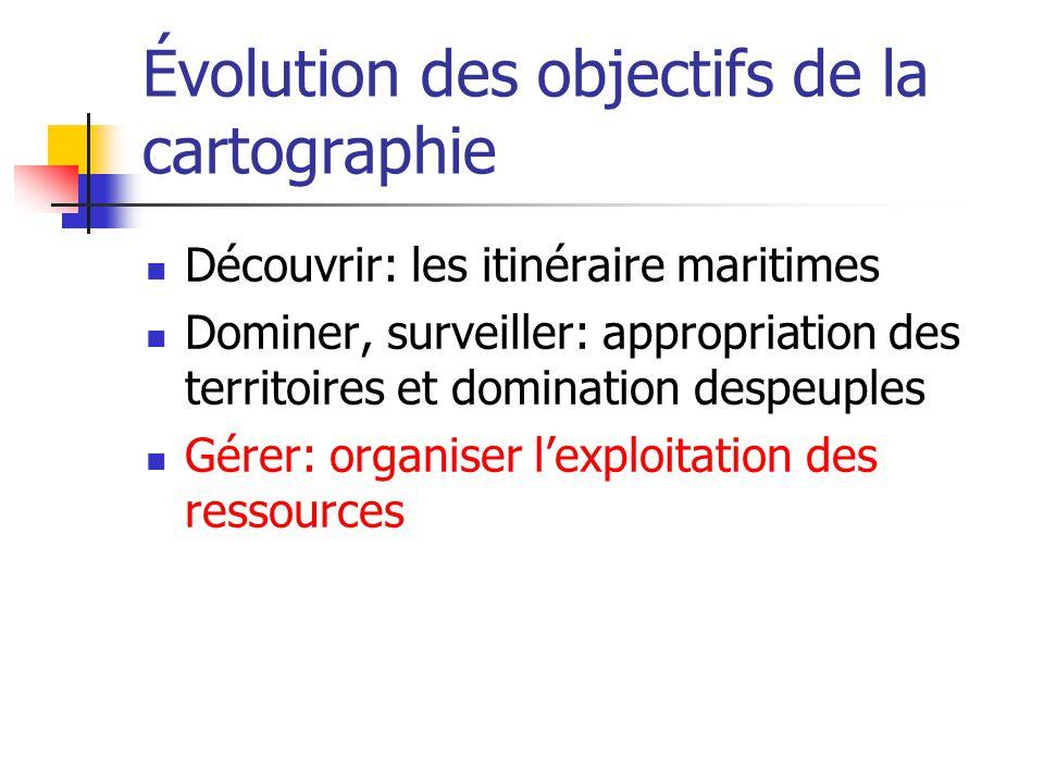 Évolution des objectifs de la cartographie Découvrir: les itinéraire maritimes Dominer, surveiller: appropriation des territoires et domination despeuples Gérer: organiser lexploitation des ressources