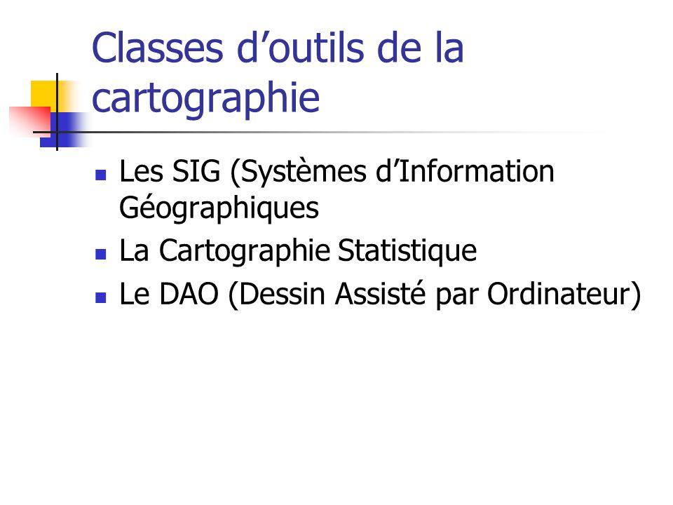 Classes doutils de la cartographie Les SIG (Systèmes dInformation Géographiques La Cartographie Statistique Le DAO (Dessin Assisté par Ordinateur)