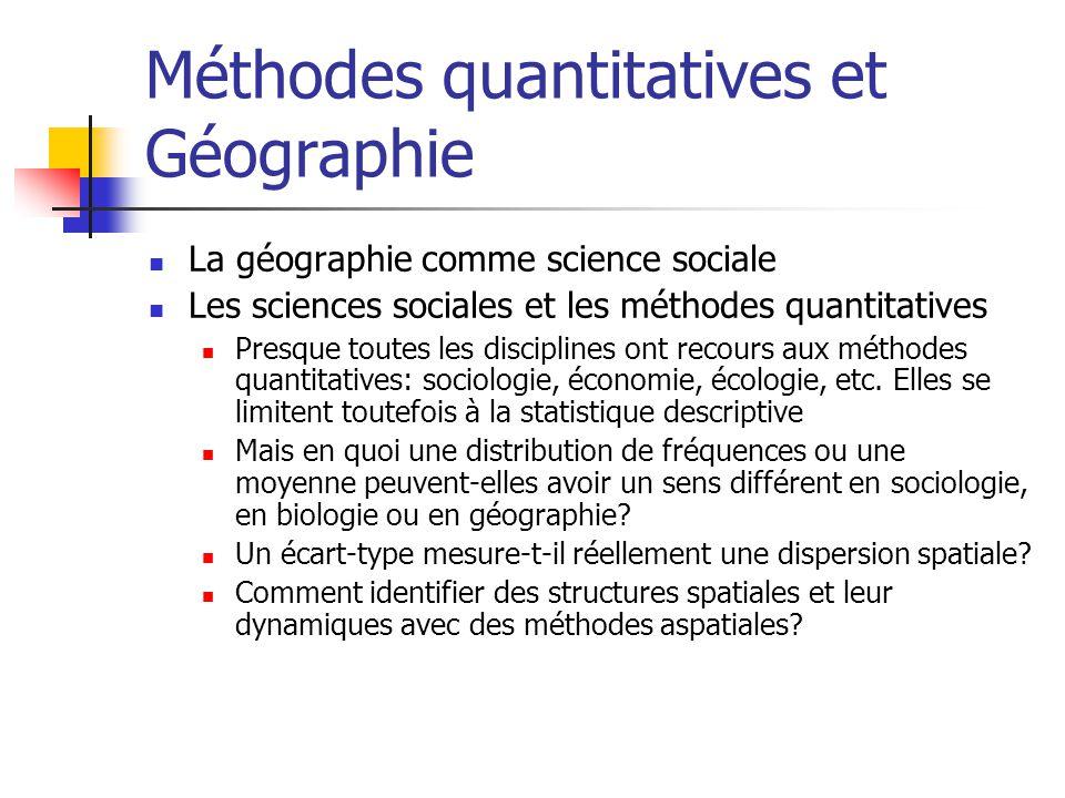 Méthodes quantitatives et Géographie La géographie comme science sociale Les sciences sociales et les méthodes quantitatives Presque toutes les disciplines ont recours aux méthodes quantitatives: sociologie, économie, écologie, etc.