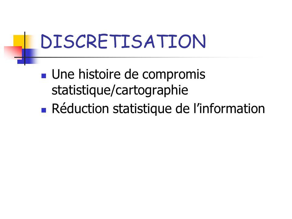 DISCRETISATION Une histoire de compromis statistique/cartographie Réduction statistique de linformation