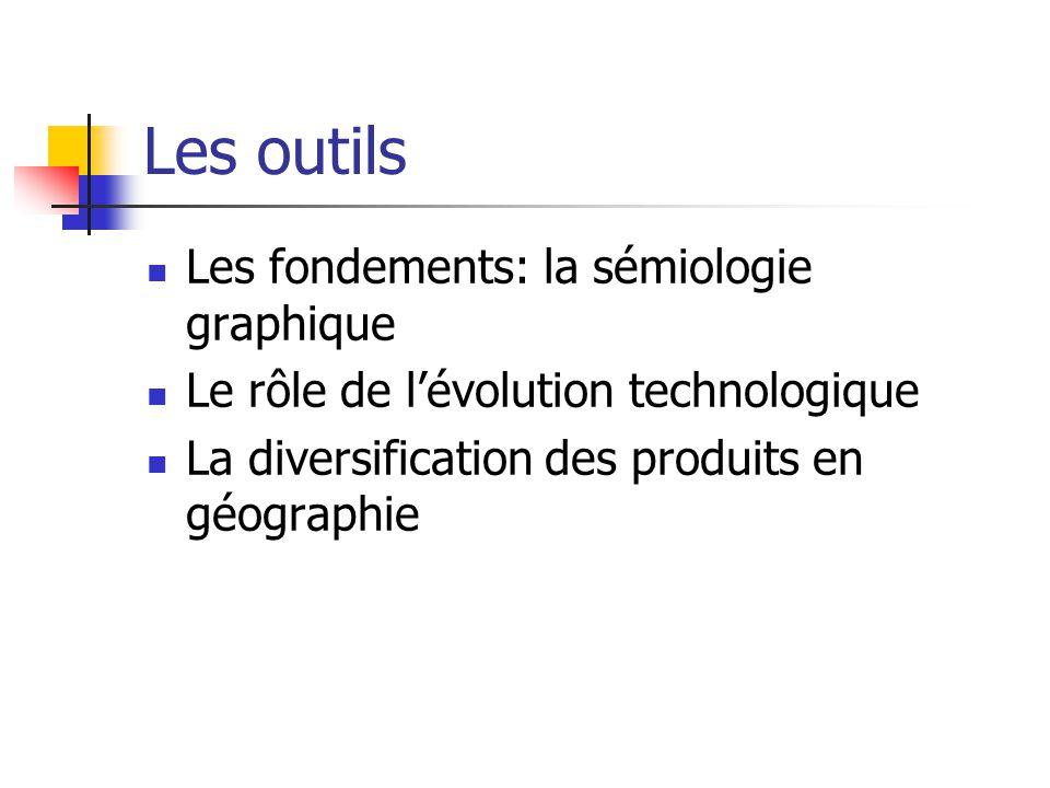 Les outils Les fondements: la sémiologie graphique Le rôle de lévolution technologique La diversification des produits en géographie