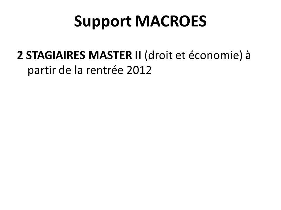 Support MACROES 2 STAGIAIRES MASTER II (droit et économie) à partir de la rentrée 2012