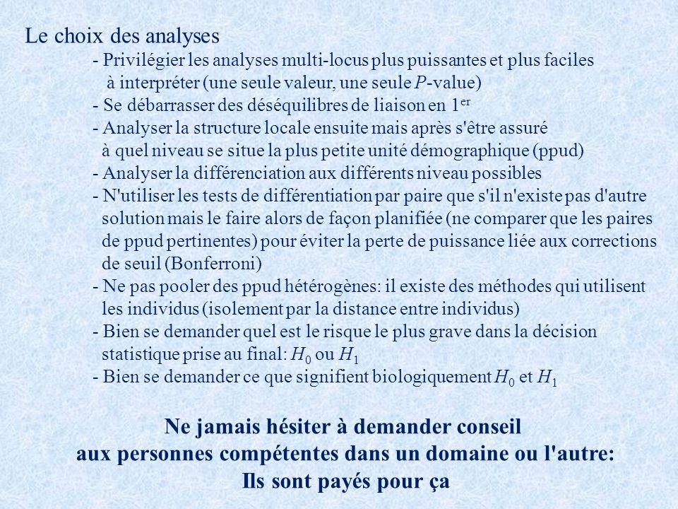 Le choix des analyses - Privilégier les analyses multi-locus plus puissantes et plus faciles à interpréter (une seule valeur, une seule P-value) - Se