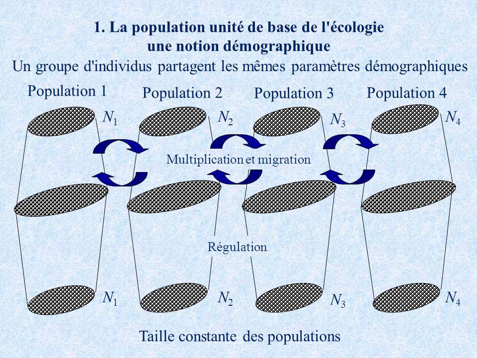 1. La population unité de base de l'écologie une notion démographique N2N2 N3N3 N4N4 N1N1 Population 1 Population 2 Population 3 Population 4 Multipli