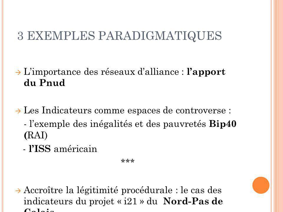 3 EXEMPLES PARADIGMATIQUES Limportance des réseaux dalliance : lapport du Pnud Les Indicateurs comme espaces de controverse : - lexemple des inégalité