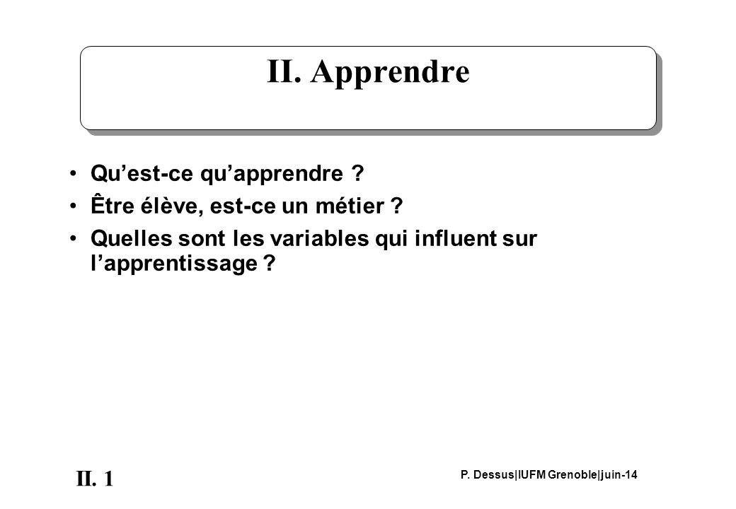 1II. P. Dessus|IUFM Grenoble|juin-14 II. Apprendre Quest-ce quapprendre .