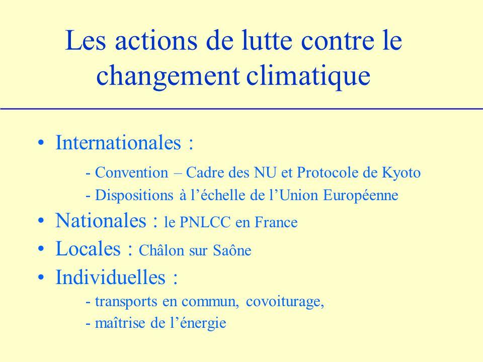 Les actions de lutte contre le changement climatique Internationales : - Convention – Cadre des NU et Protocole de Kyoto - Dispositions à léchelle de lUnion Européenne Nationales : le PNLCC en France Locales : Châlon sur Saône Individuelles : - transports en commun, covoiturage, - maîtrise de lénergie