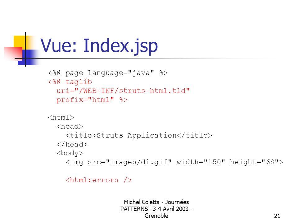 Michel Coletta - Journées PATTERNS - 3-4 Avril 2003 - Grenoble20 Structure des répertoires Webappli pages.jsp WEB-INF web.xml struts-config.xml lib fichiers.jar classes fichiers.class