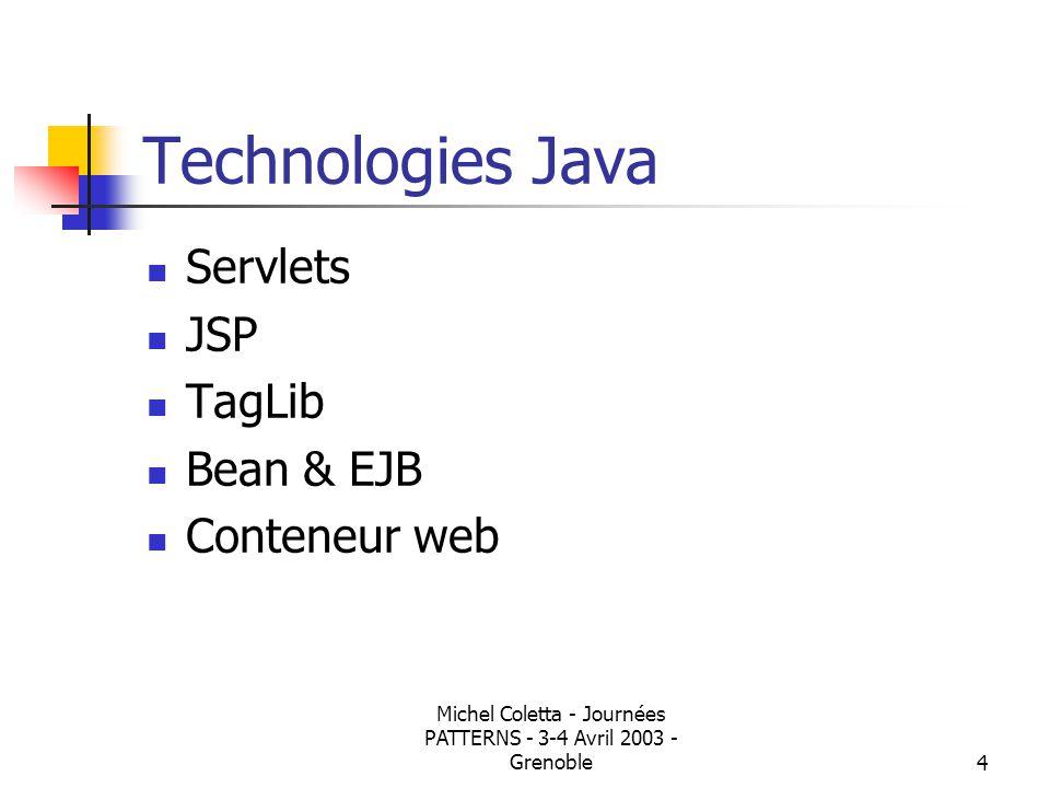 Michel Coletta - Journées PATTERNS - 3-4 Avril 2003 - Grenoble3 Application Web Protocole HTTP: requete/reponse, sans état Programmation coté serveur CGI java