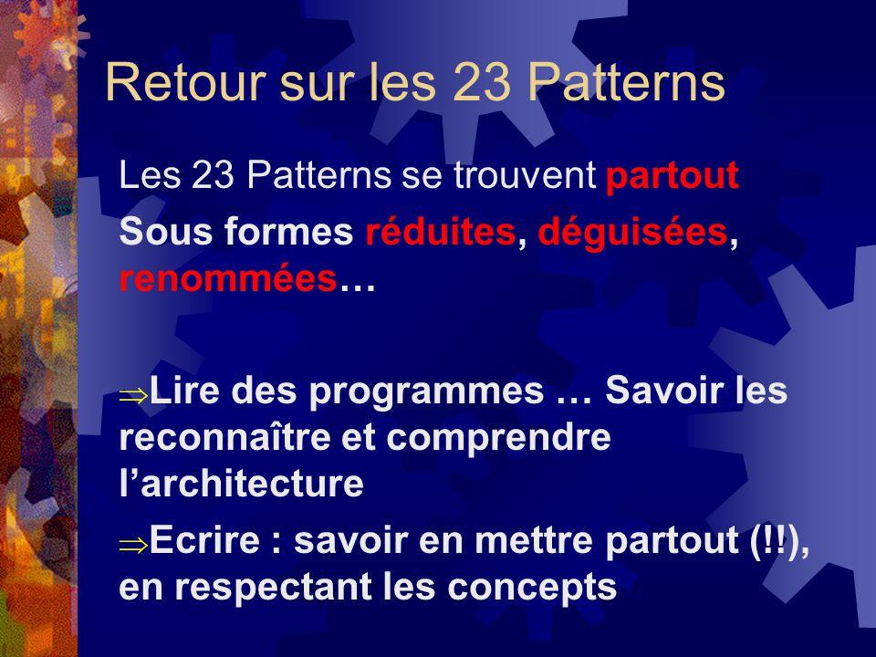 Retour sur les 23 Patterns Les 23 Patterns se trouvent partout Sous formes réduites, déguisées, renommées… Lire des programmes … Savoir les reconnaîtr