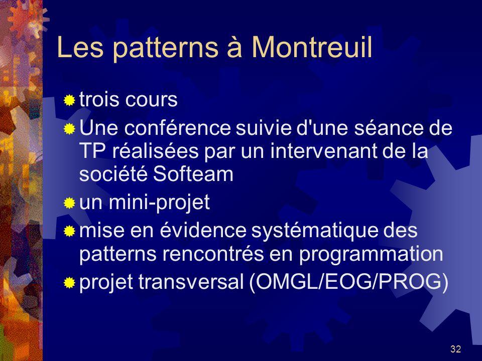 32 Les patterns à Montreuil trois cours Une conférence suivie d'une séance de TP réalisées par un intervenant de la société Softeam un mini-projet mis
