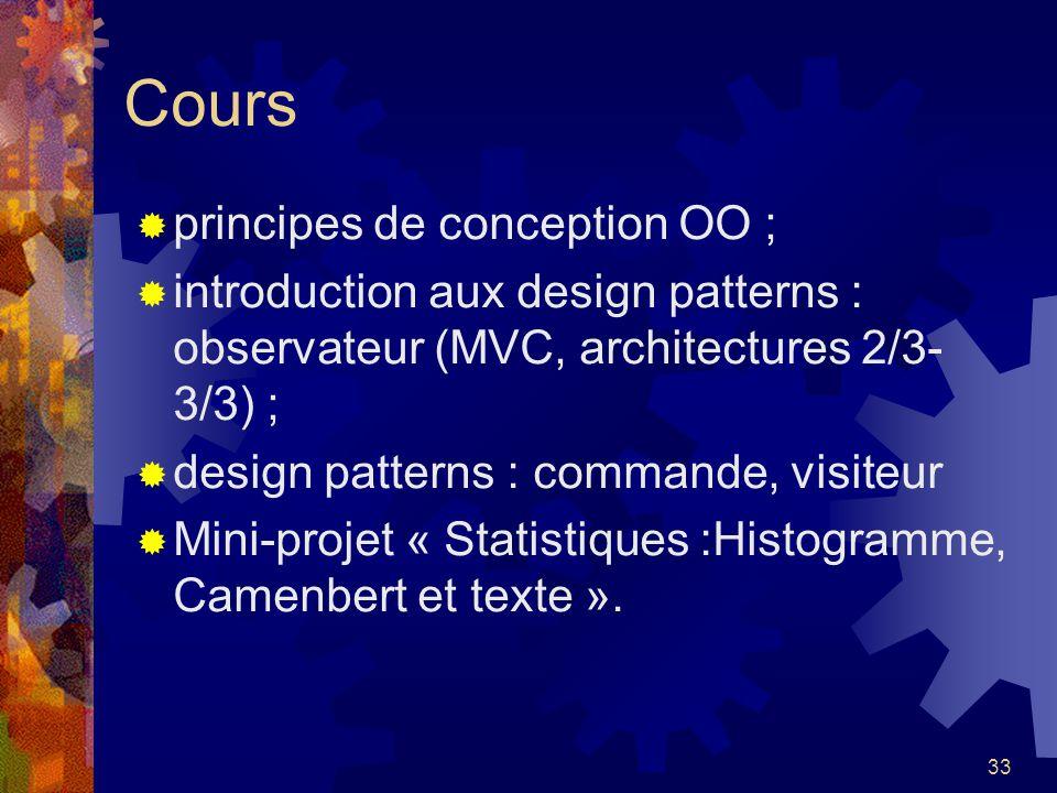 33 Cours principes de conception OO ; introduction aux design patterns : observateur (MVC, architectures 2/3- 3/3) ; design patterns : commande, visit
