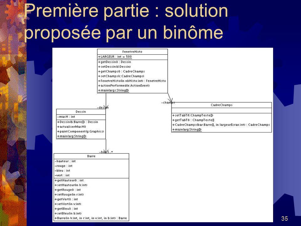 35 Première partie : solution proposée par un binôme