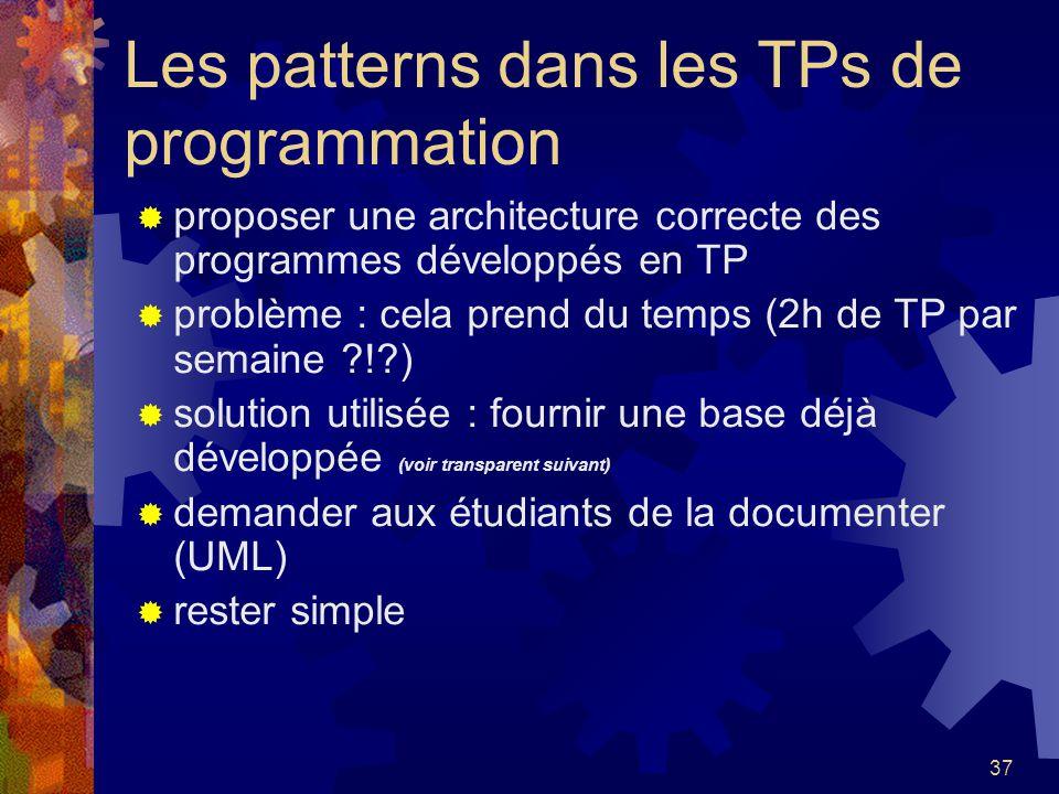 37 Les patterns dans les TPs de programmation proposer une architecture correcte des programmes développés en TP problème : cela prend du temps (2h de