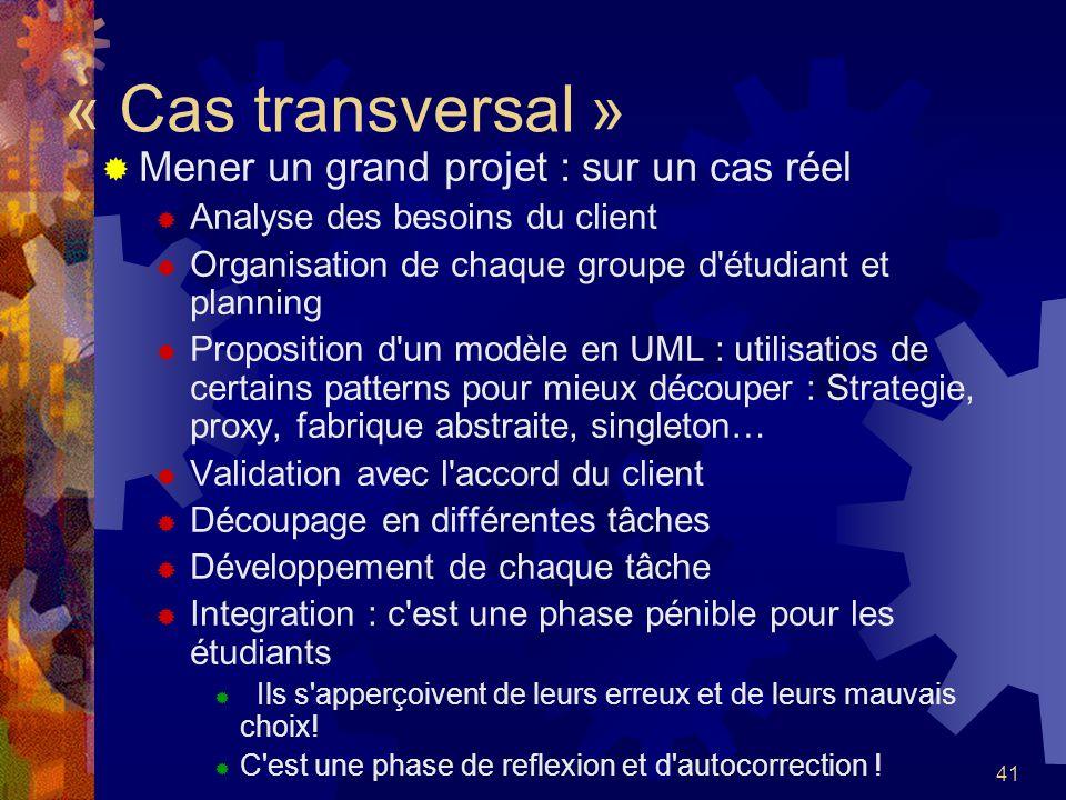 41 « Cas transversal » Mener un grand projet : sur un cas réel Analyse des besoins du client Organisation de chaque groupe d'étudiant et planning Prop