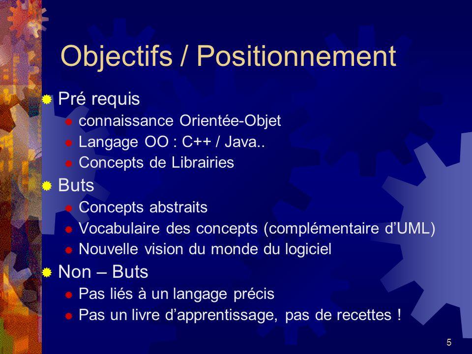 5 Objectifs / Positionnement Pré requis connaissance Orientée-Objet Langage OO : C++ / Java.. Concepts de Librairies Buts Concepts abstraits Vocabulai