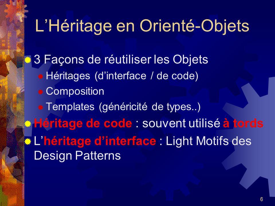 6 LHéritage en Orienté-Objets 3 Façons de réutiliser les Objets Héritages (dinterface / de code) Composition Templates (généricité de types..) Héritag