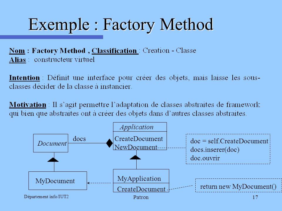 Département info/IUT2 Patron17 Exemple : Factory Method Document MyDocument Application MyApplication CreateDocument NewDocument doc = self.CreateDocu