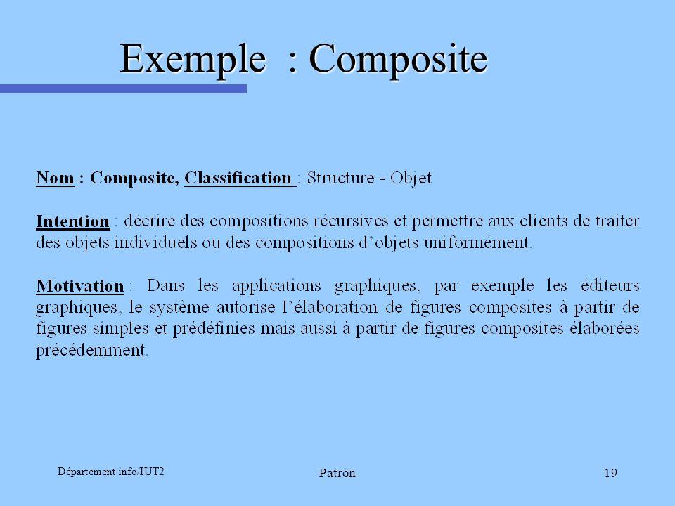 Département info/IUT2 Patron19 Exemple : Composite
