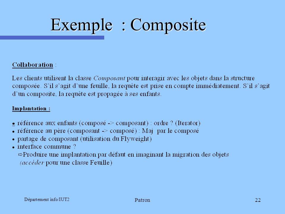 Département info/IUT2 Patron22 Exemple : Composite