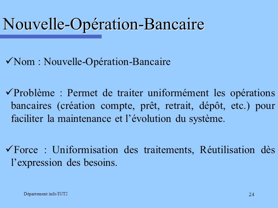 Département info/IUT2 24Nouvelle-Opération-Bancaire Nom : Nouvelle-Opération-Bancaire Problème : Permet de traiter uniformément les opérations bancair