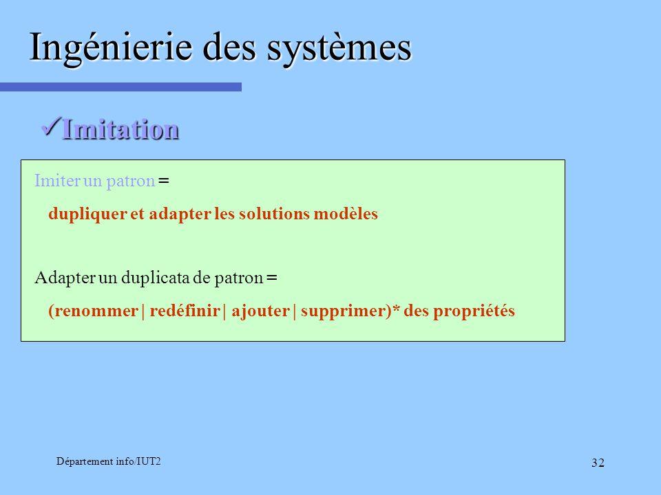 Département info/IUT2 32 Imitation Imitation Imiter un patron = dupliquer et adapter les solutions modèles Adapter un duplicata de patron = (renommer