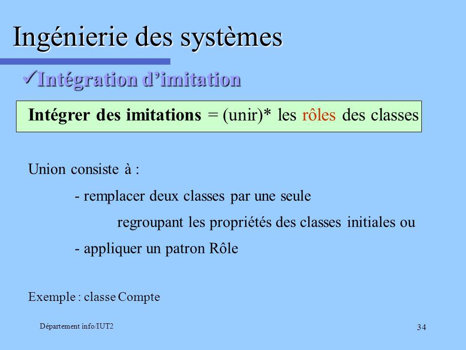 Département info/IUT2 34 Intégration dimitation Intégration dimitation Ingénierie des systèmes Intégrer des imitations = (unir)* les rôles des classes