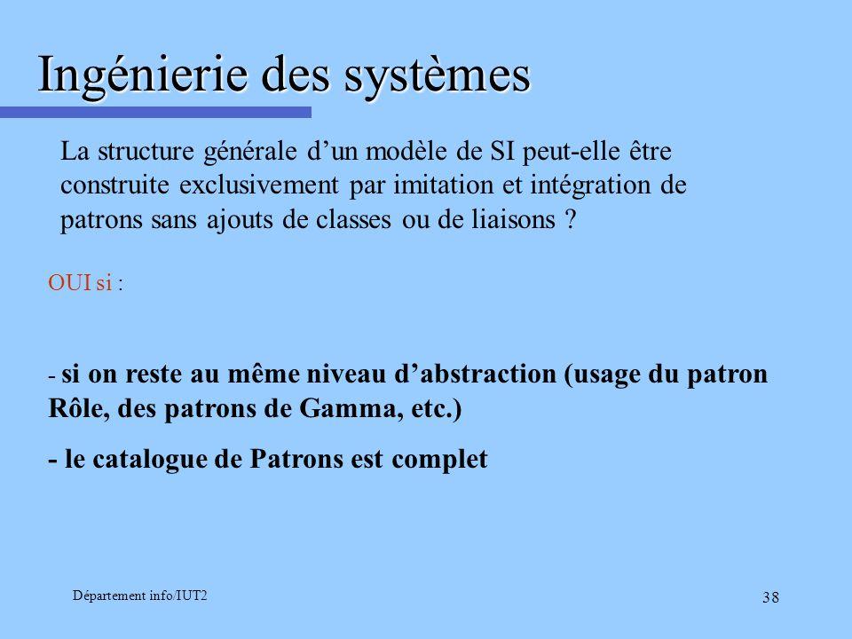 Département info/IUT2 38 Ingénierie des systèmes La structure générale dun modèle de SI peut-elle être construite exclusivement par imitation et intég