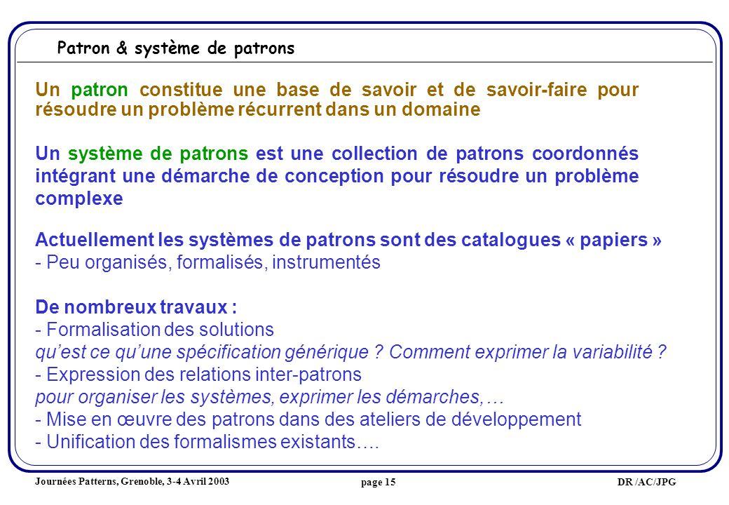 Journées Patterns, Grenoble, 3-4 Avril 2003 DR /AC/JPGpage 15 Un patron constitue une base de savoir et de savoir-faire pour résoudre un problème récurrent dans un domaine Un système de patrons est une collection de patrons coordonnés intégrant une démarche de conception pour résoudre un problème complexe Patron & système de patrons Actuellement les systèmes de patrons sont des catalogues « papiers » - Peu organisés, formalisés, instrumentés De nombreux travaux : - Formalisation des solutions quest ce quune spécification générique .