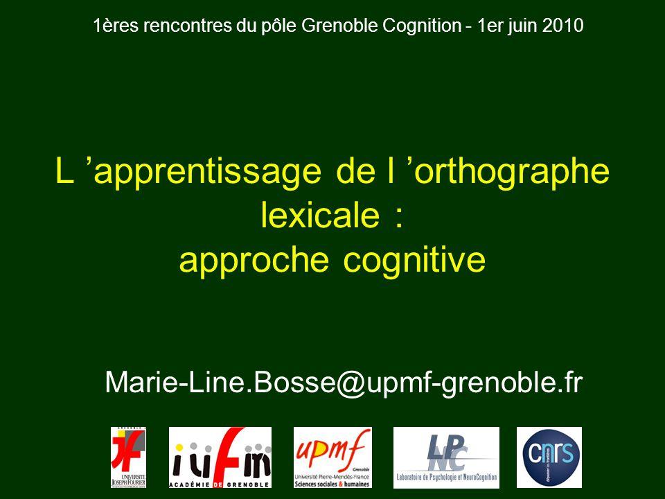Marie-Line.Bosse@upmf-grenoble.fr L apprentissage de l orthographe lexicale : approche cognitive 1ères rencontres du pôle Grenoble Cognition - 1er jui