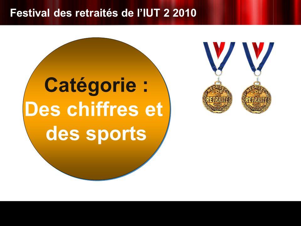 Catégorie : Des chiffres et des sports Catégorie : Des chiffres et des sports Festival des retraités de lIUT 2 2010