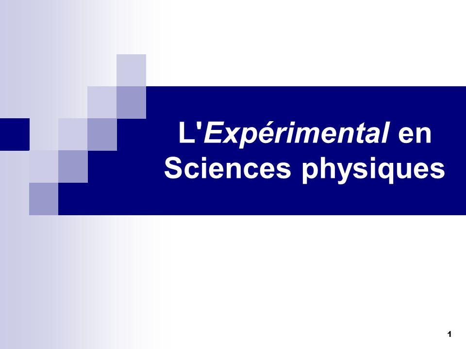 1 L'Expérimental en Sciences physiques