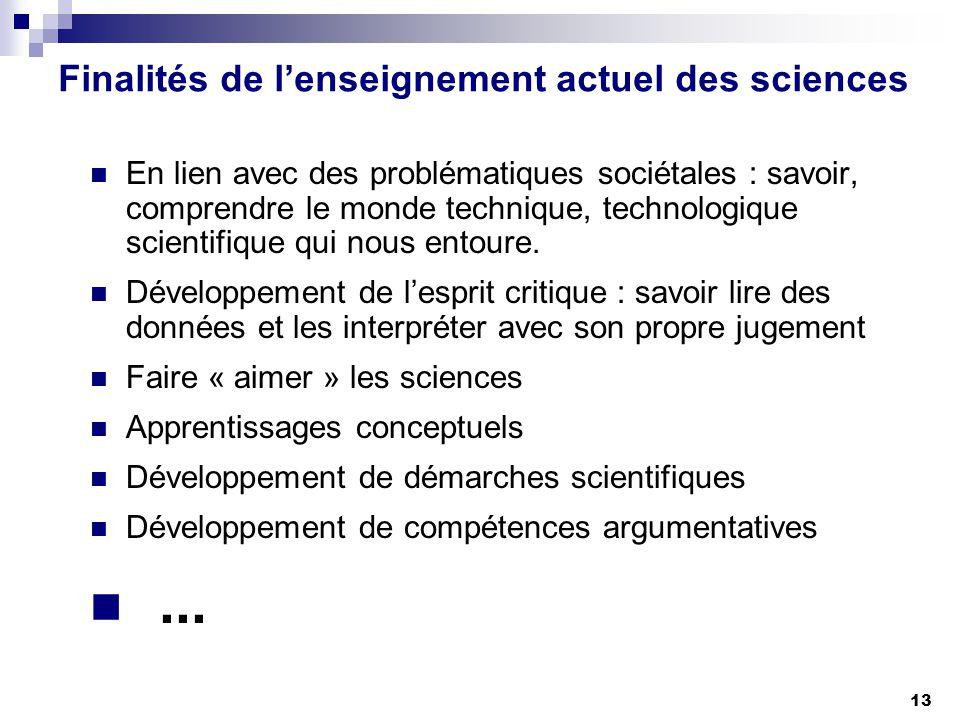 13 Finalités de lenseignement actuel des sciences En lien avec des problématiques sociétales : savoir, comprendre le monde technique, technologique sc