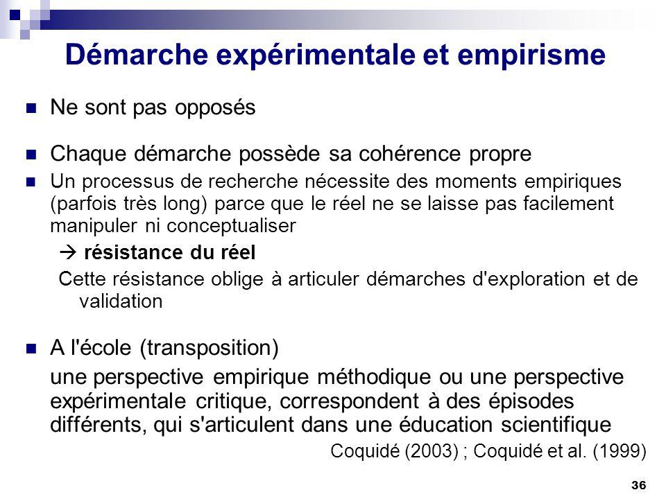 36 Démarche expérimentale et empirisme Ne sont pas opposés Chaque démarche possède sa cohérence propre Un processus de recherche nécessite des moments