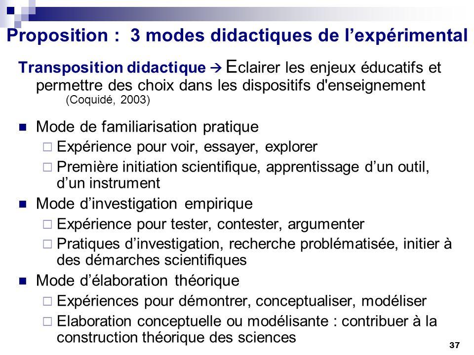 37 Proposition : 3 modes didactiques de lexpérimental Transposition didactique E clairer les enjeux éducatifs et permettre des choix dans les disposit