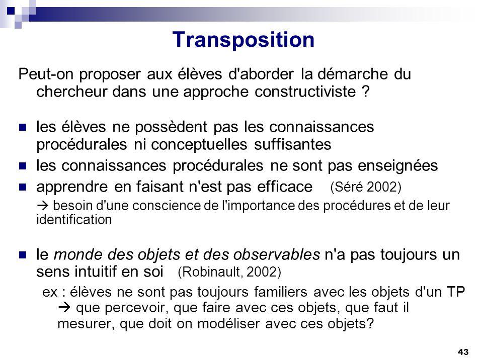 43 Transposition Peut-on proposer aux élèves d'aborder la démarche du chercheur dans une approche constructiviste ? les élèves ne possèdent pas les co