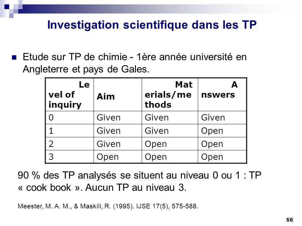 56 Investigation scientifique dans les TP Etude sur TP de chimie - 1ère année université en Angleterre et pays de Gales. Le vel of inquiry Aim Mat eri