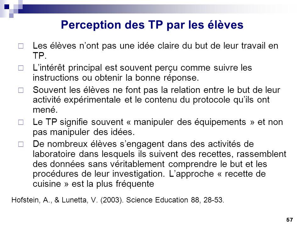 57 Perception des TP par les élèves Les élèves nont pas une idée claire du but de leur travail en TP. Lintérêt principal est souvent perçu comme suivr