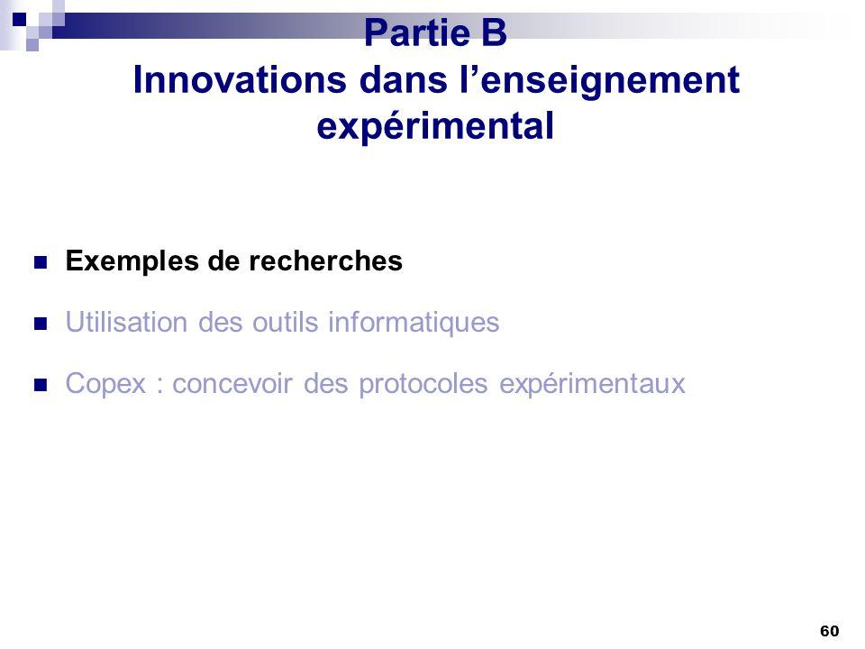 60 Partie B Innovations dans lenseignement expérimental Exemples de recherches Utilisation des outils informatiques Copex : concevoir des protocoles e
