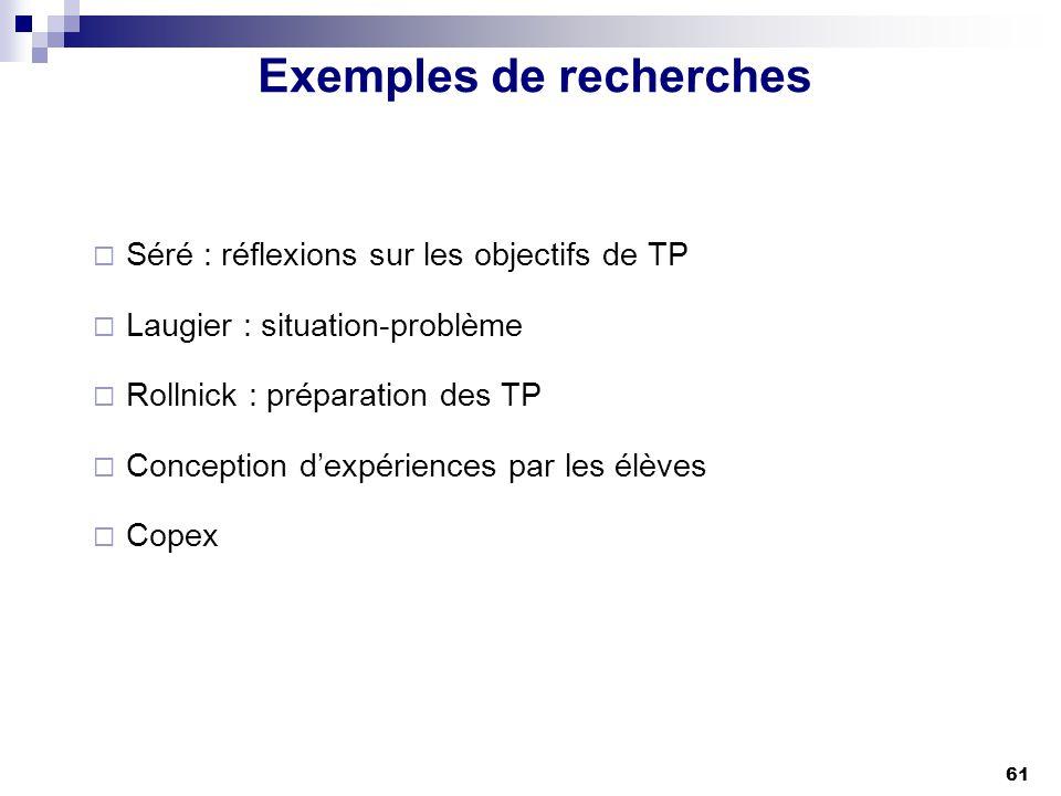 61 Exemples de recherches Séré : réflexions sur les objectifs de TP Laugier : situation-problème Rollnick : préparation des TP Conception dexpériences