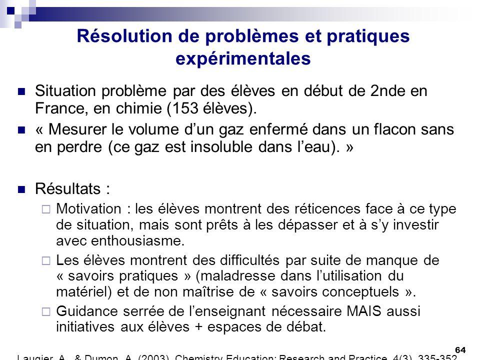 64 Résolution de problèmes et pratiques expérimentales Situation problème par des élèves en début de 2nde en France, en chimie (153 élèves). « Mesurer