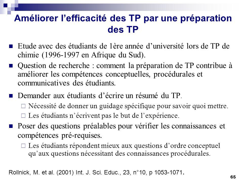 65 Améliorer lefficacité des TP par une préparation des TP Etude avec des étudiants de 1ère année duniversité lors de TP de chimie (1996-1997 en Afriq