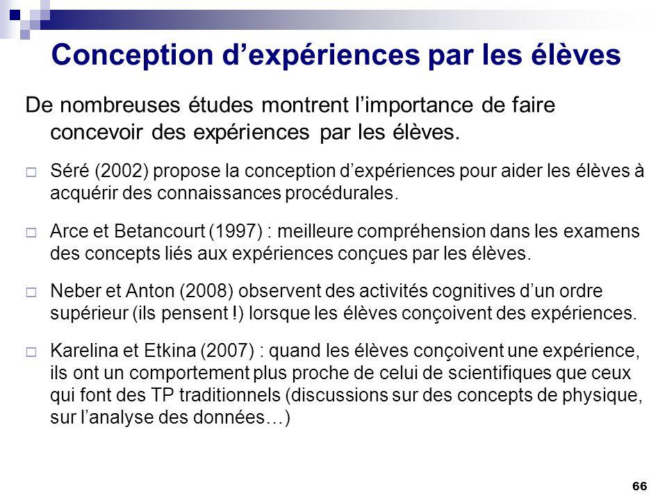 66 Conception dexpériences par les élèves De nombreuses études montrent limportance de faire concevoir des expériences par les élèves. Séré (2002) pro
