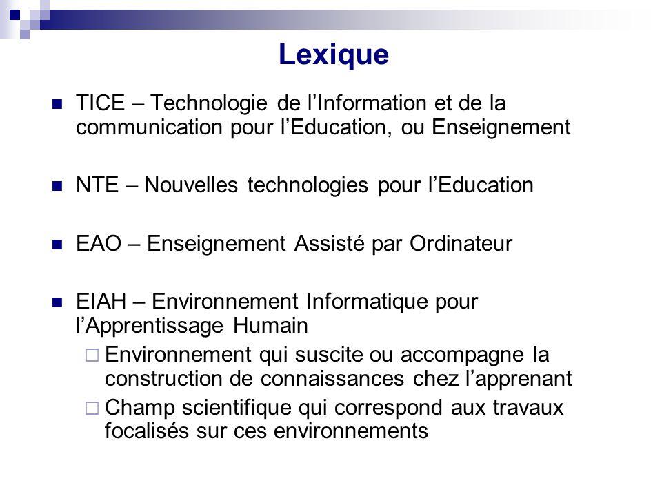 Lexique TICE – Technologie de lInformation et de la communication pour lEducation, ou Enseignement NTE – Nouvelles technologies pour lEducation EAO –