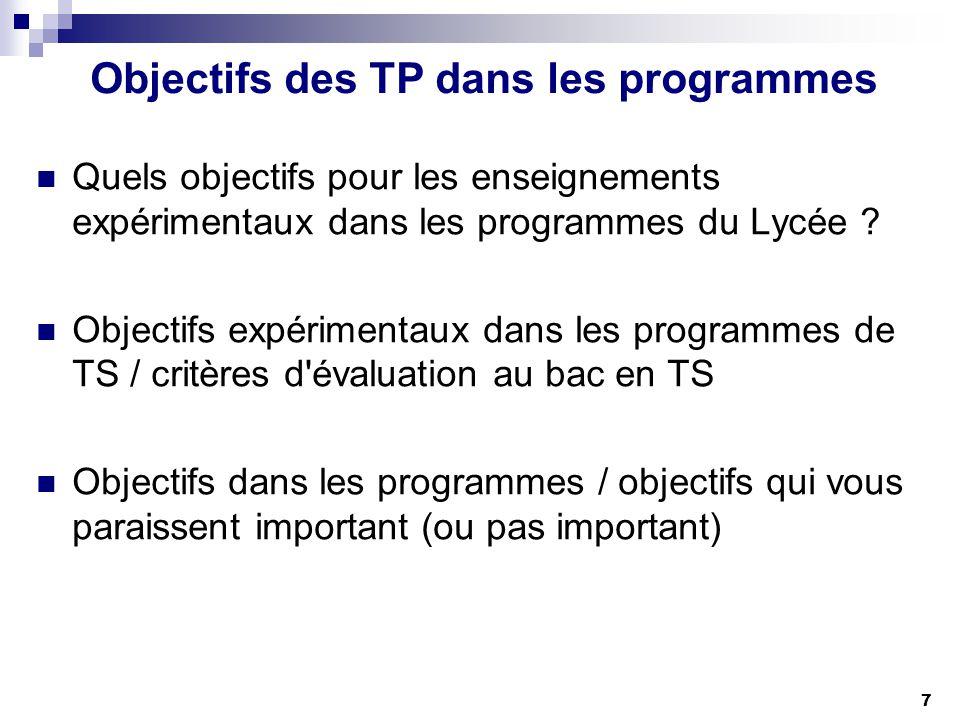 7 Objectifs des TP dans les programmes Quels objectifs pour les enseignements expérimentaux dans les programmes du Lycée ? Objectifs expérimentaux dan