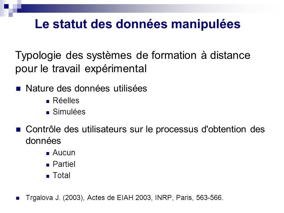 Le statut des données manipulées Nature des données utilisées Réelles Simulées Contrôle des utilisateurs sur le processus d'obtention des données Aucu