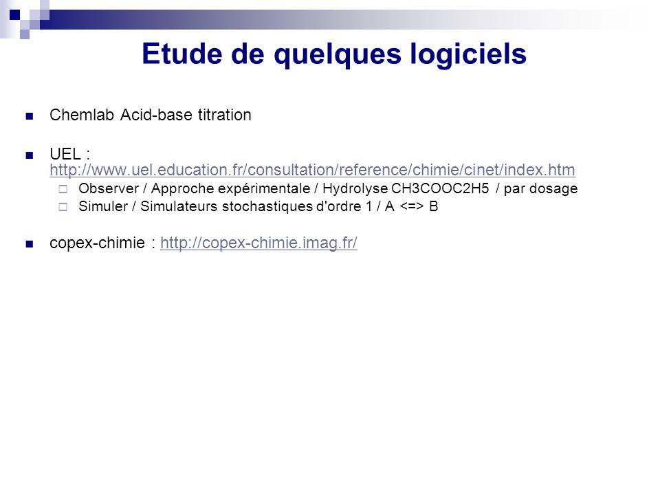 Etude de quelques logiciels Chemlab Acid-base titration UEL : http://www.uel.education.fr/consultation/reference/chimie/cinet/index.htm http://www.uel
