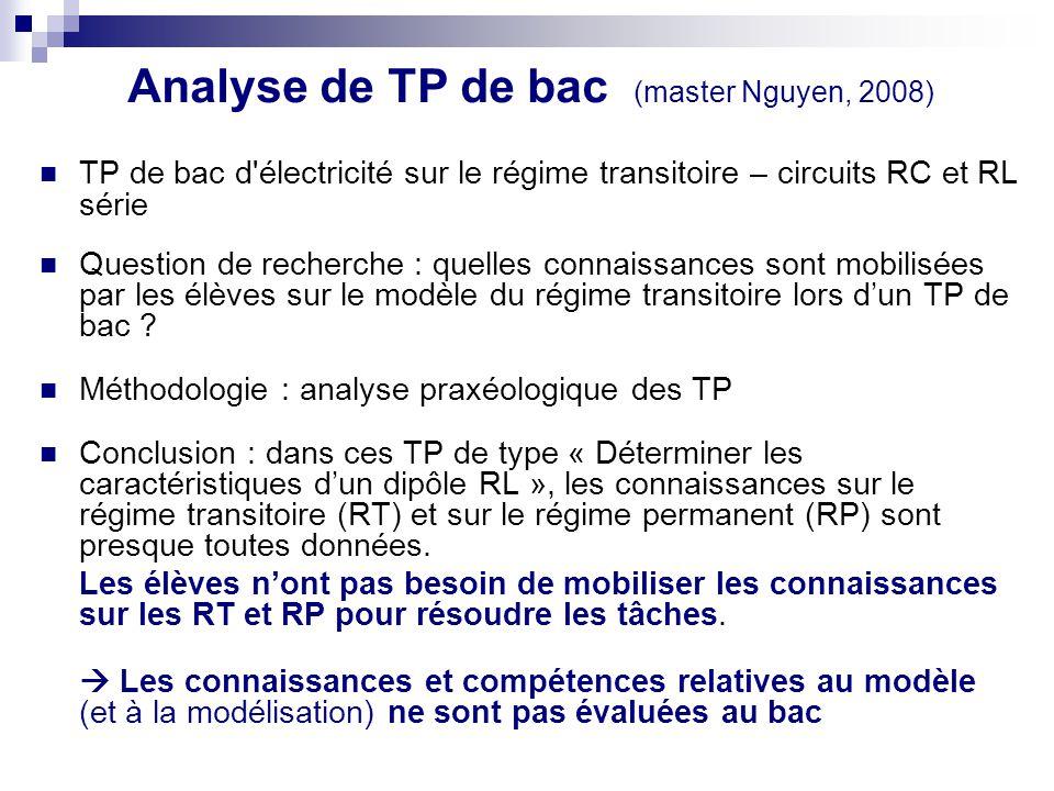 Analyse de TP de bac (master Nguyen, 2008) TP de bac d'électricité sur le régime transitoire – circuits RC et RL série Question de recherche : quelles